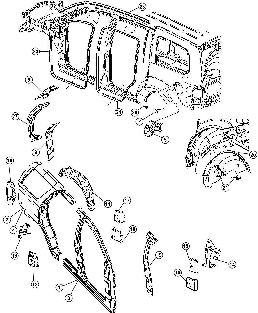 Dodge Durango Panel Taillamp Mounting Left