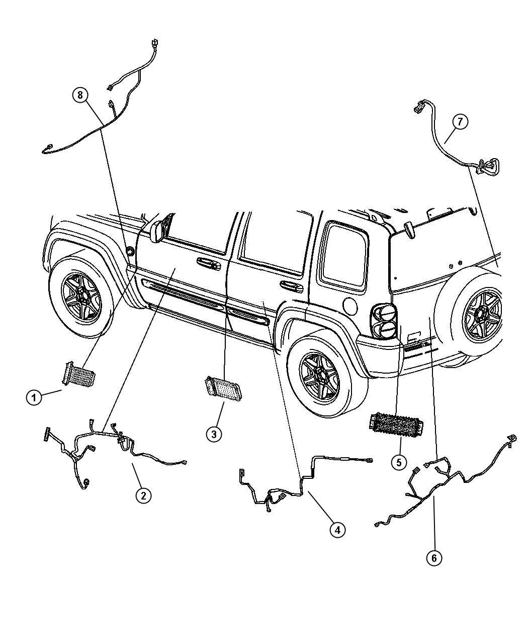 Jeep Liberty Grommet Door Wiring Rear Rear Door