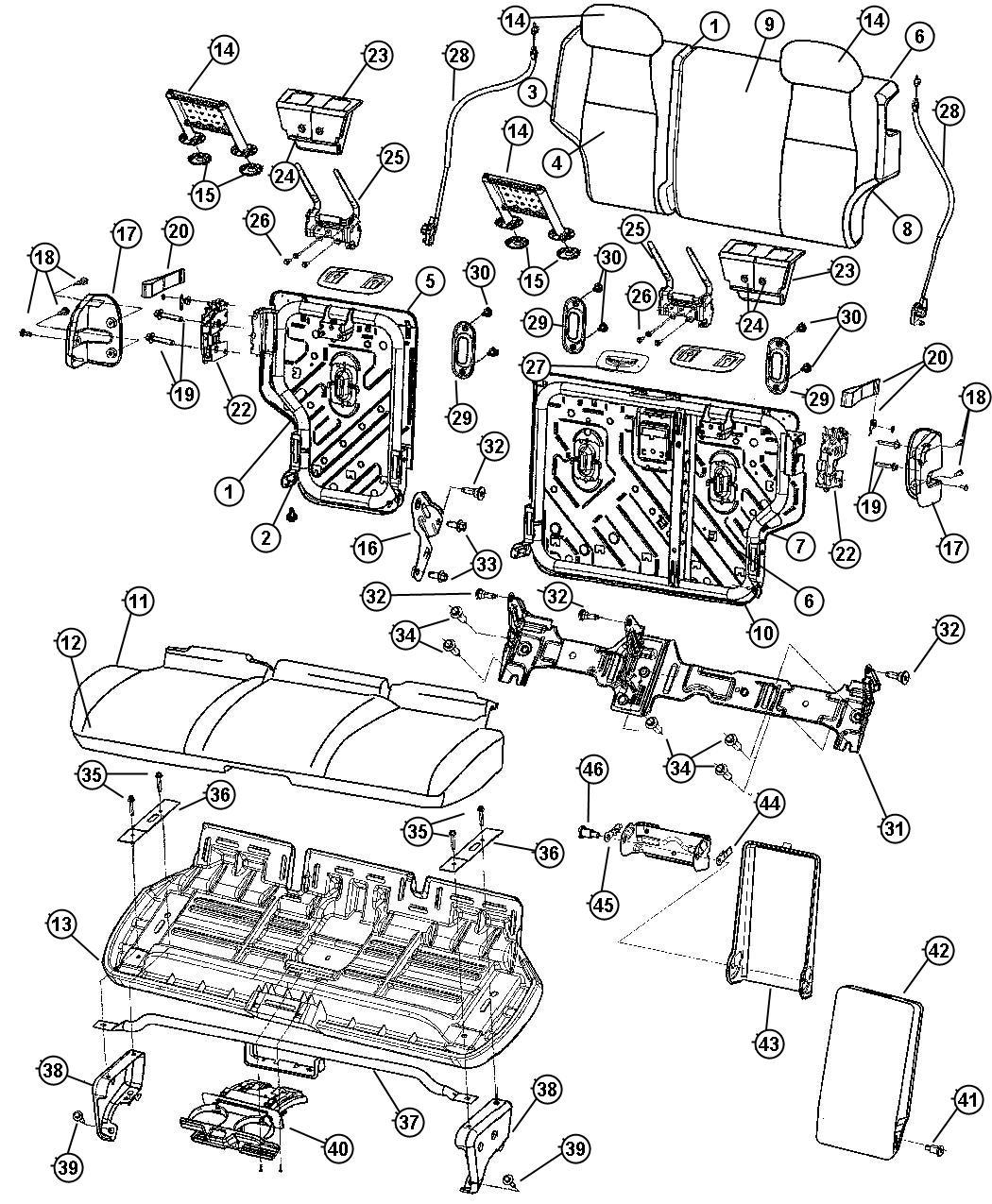 Jeep Grand Cherokee Bracket Pivot Trim Leather Trimmed