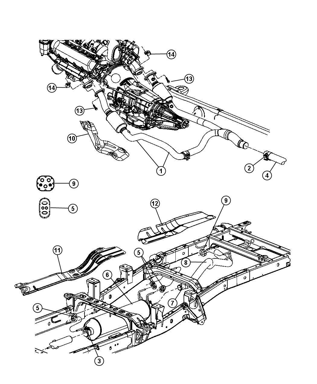 Dodge Dakota Clamp Exhaust Extension Pipe To Muffler