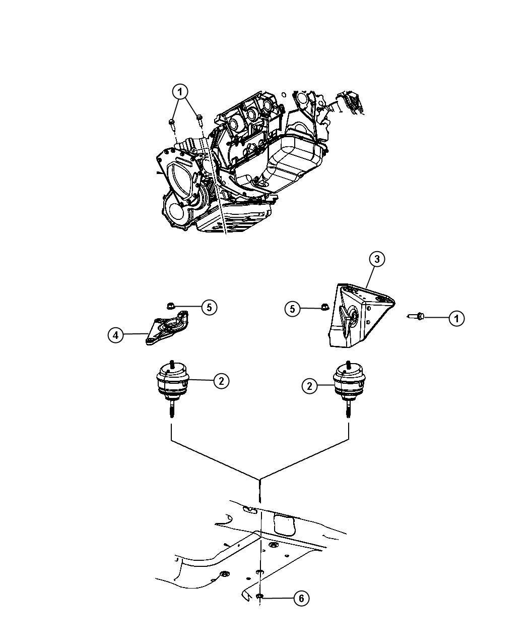 Chrysler Pacifica Isolator Engine Mount Rear Load Torque