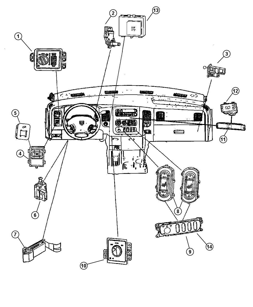 Dodge Ram Switch Power Window Trim All Trim