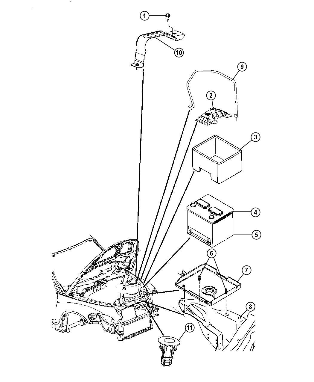 Pt Cruiser Battery Tray And Support