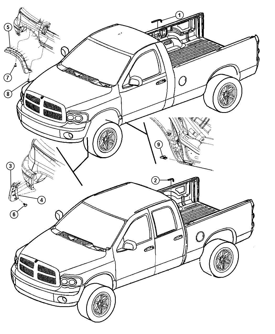 Dodge Ram Molding Wheel Opening Flare Right
