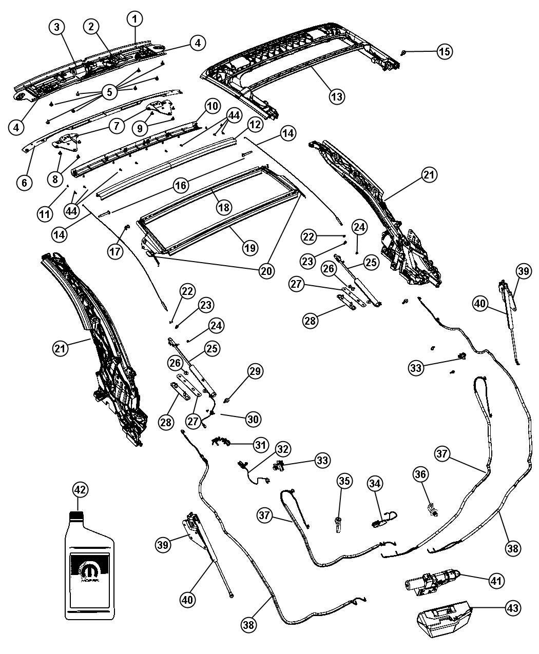 Chrysler Sebring Switch Folding Top Header Latched