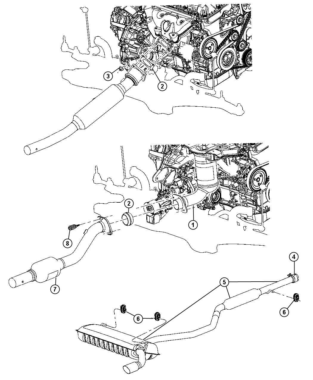 Jeep Patriot Exhaust System 2 4l 2 4l 4 Cyl Dohc 16v