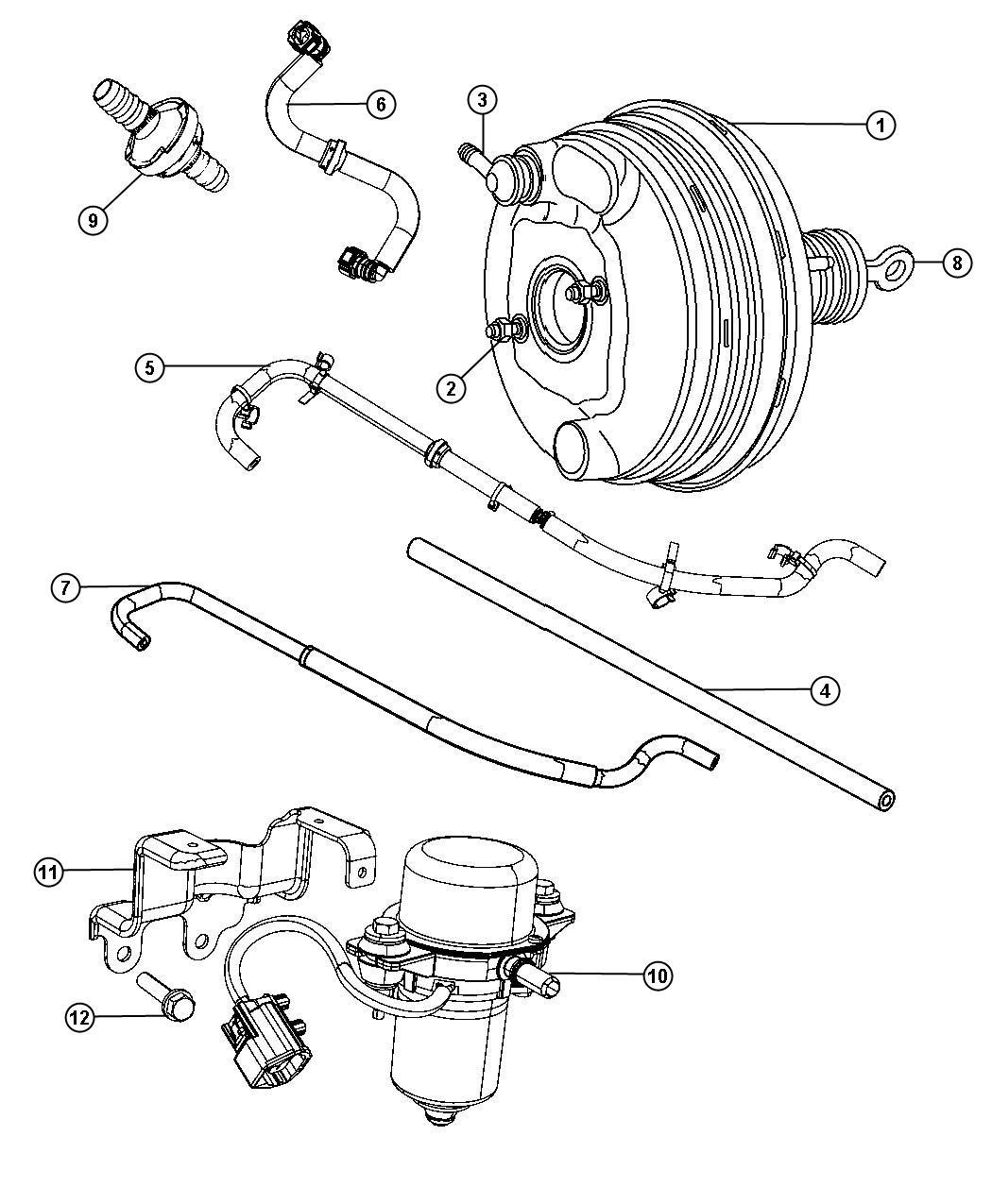 Chrysler 300 Hose Brake Booster Vacuum Left Booster To