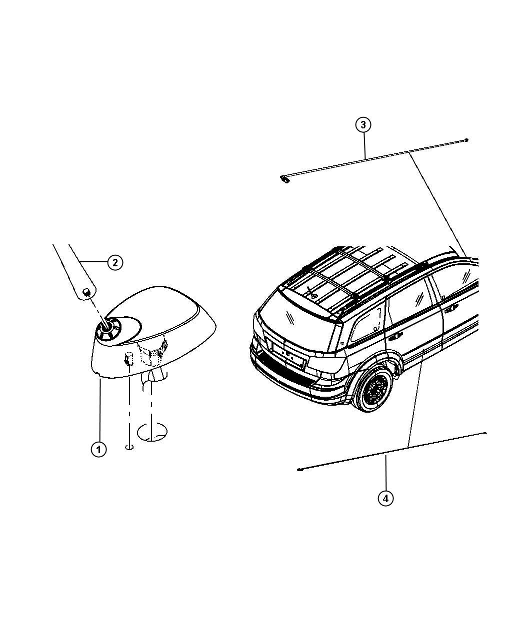 Jeep Liberty Mast Panel Antenna Roof Without