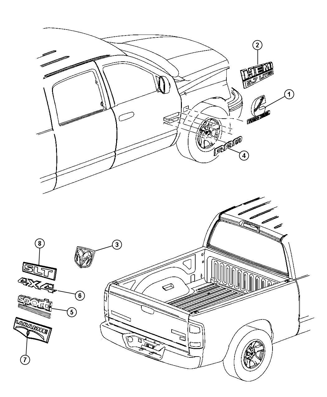 Dodge Ram Nameplate Front Fender Hemi 5 7 Liter