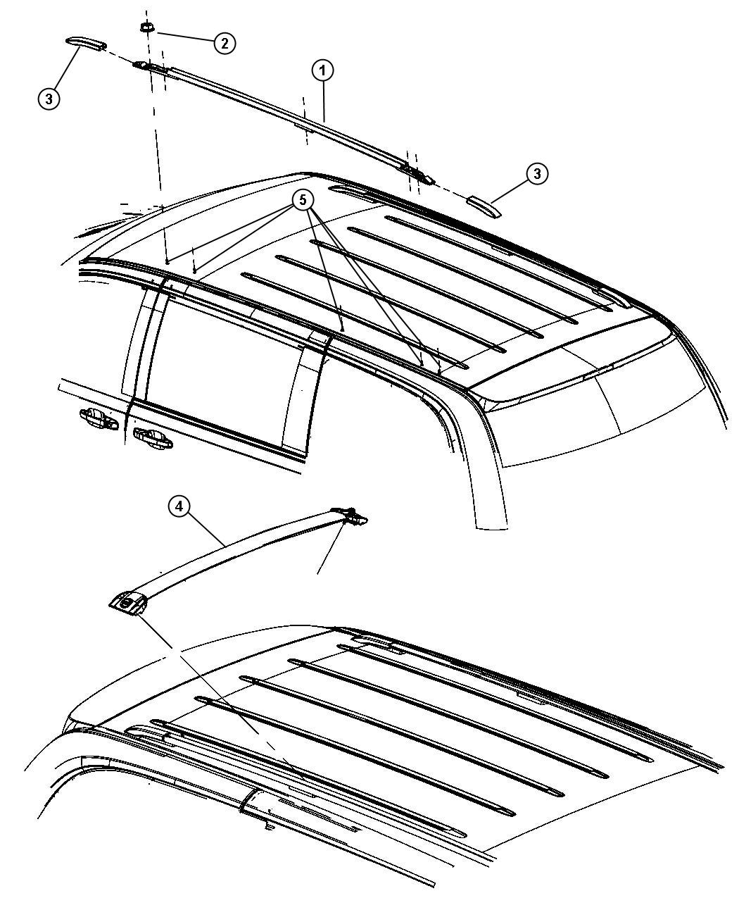 Dodge Grand Caravan Cover Side Rail Front Railsside