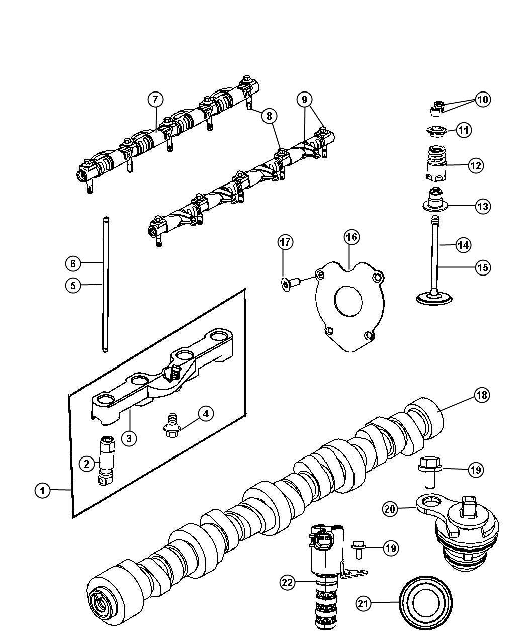 Camshaft And Valvetrain 6 4l 6 4l V8 Srt Hemi Engine