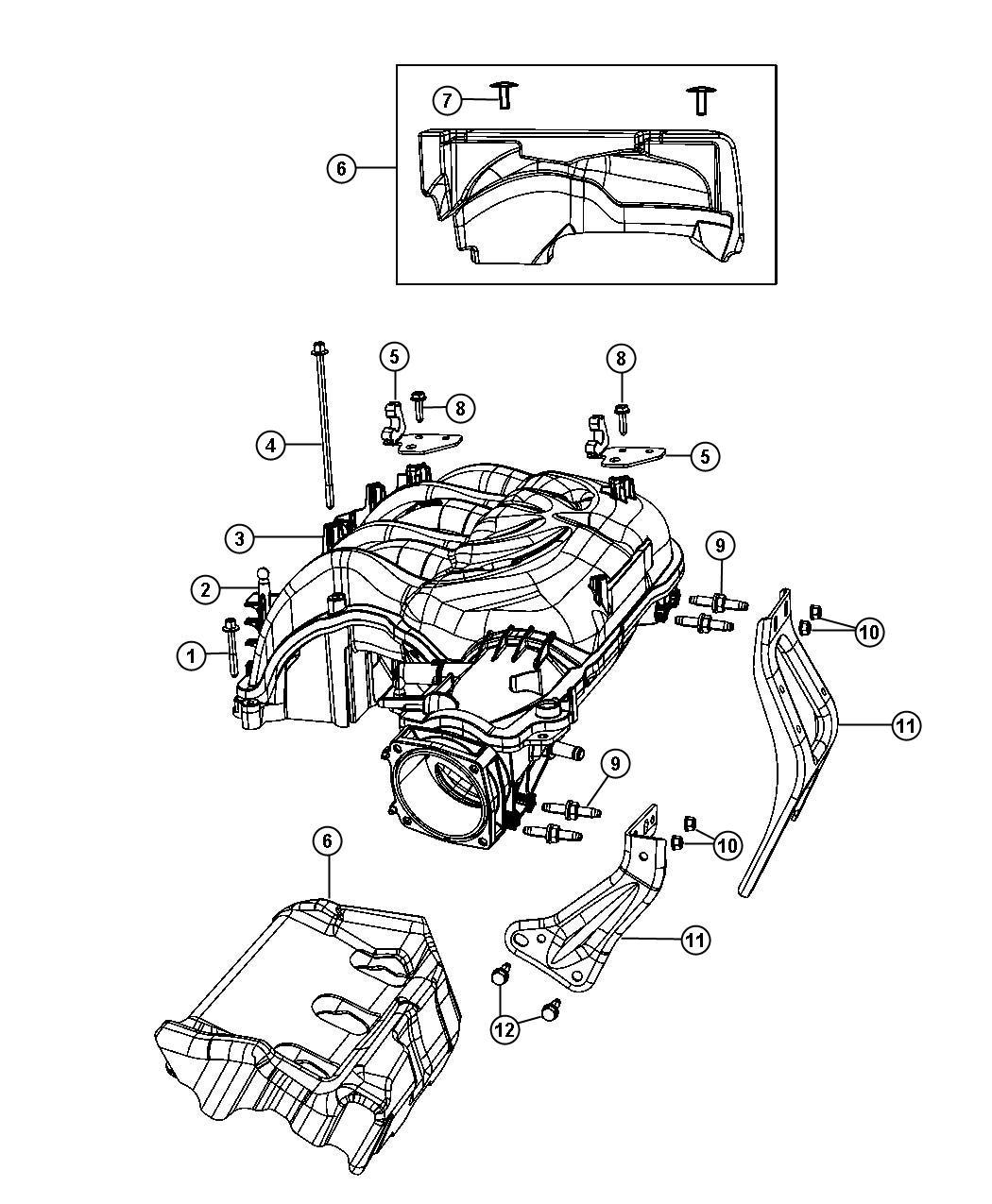 Jeep Wrangler Pad Engine Rear Rear Upper Top Of Intake