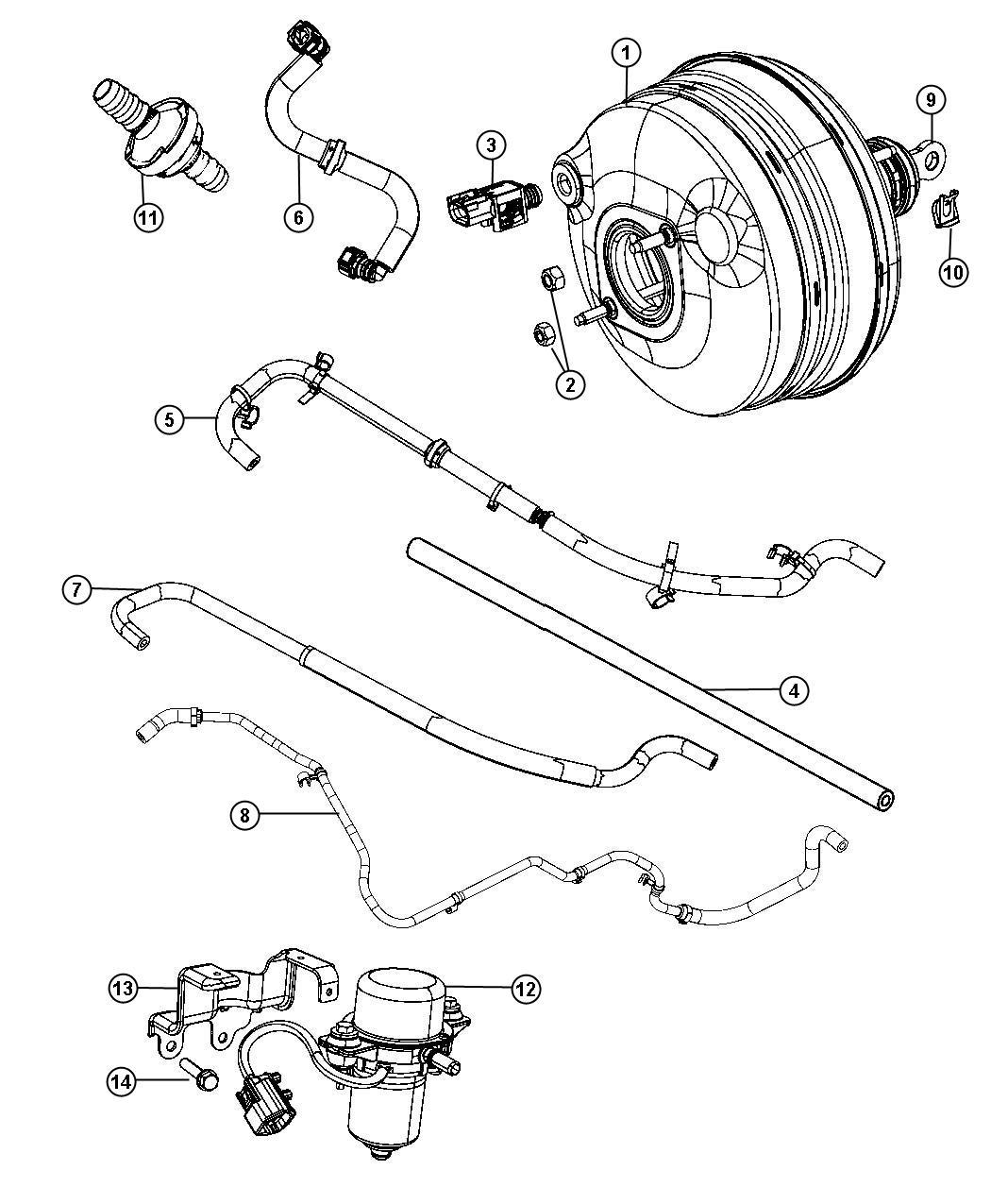 Chrysler 300 Hose Brake Booster Vacuum