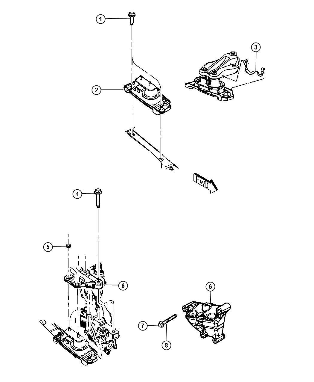 Dodge Grand Caravan Engine Mounting Right Side Fwd 3 6l 3 6l V6 24v Vvt Engine