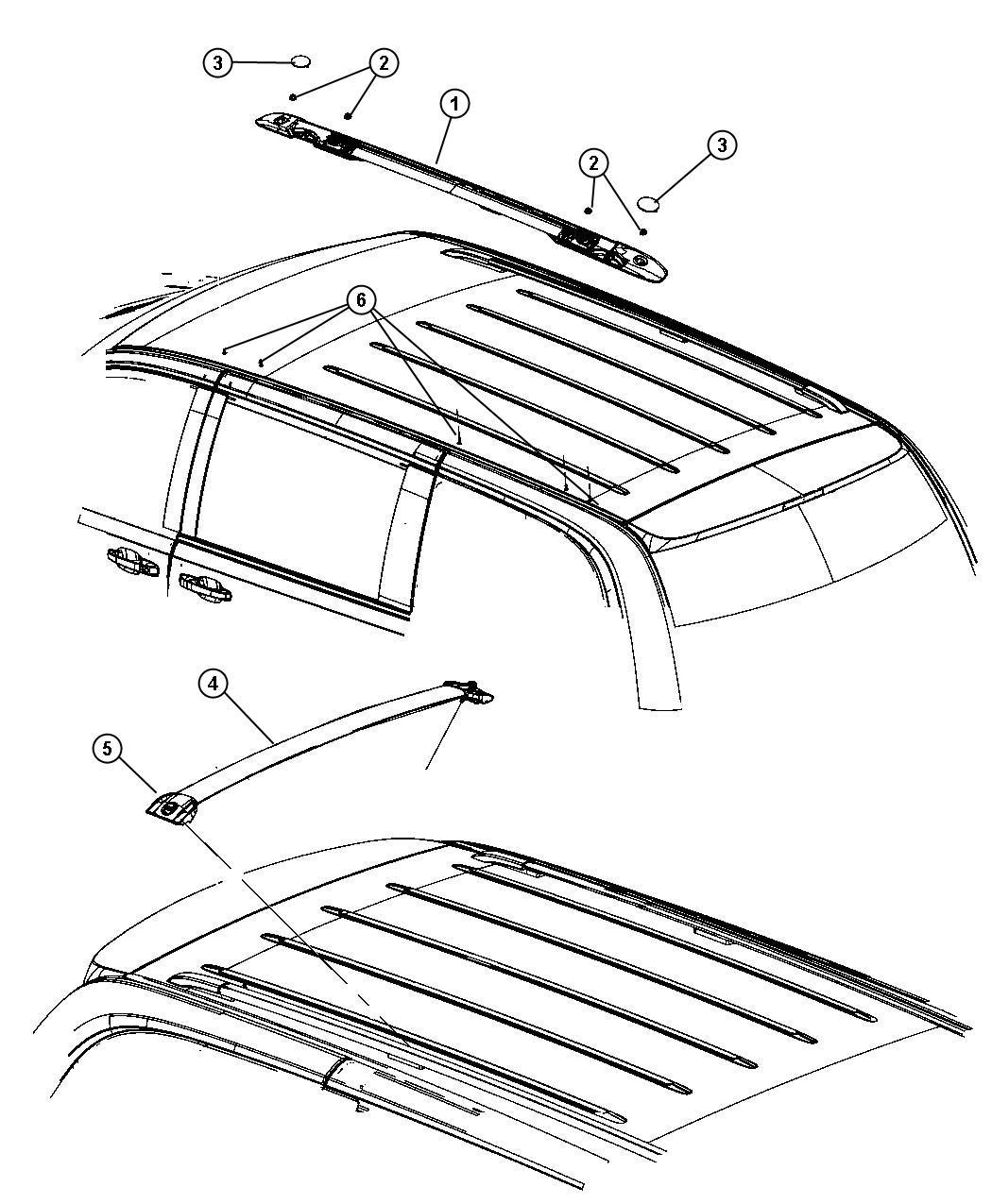 Dodge Grand Caravan Rail Luggage Rack Side Right
