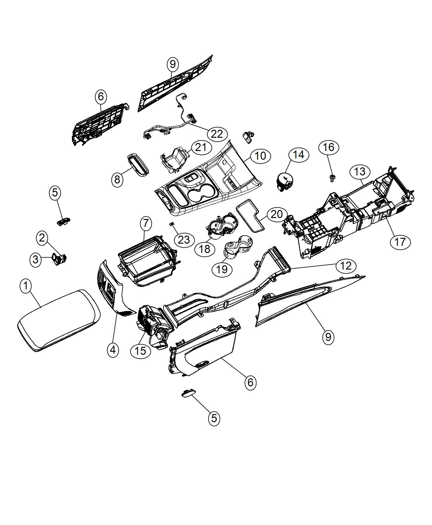 Dodge Durango Armrest Console Export Trim No