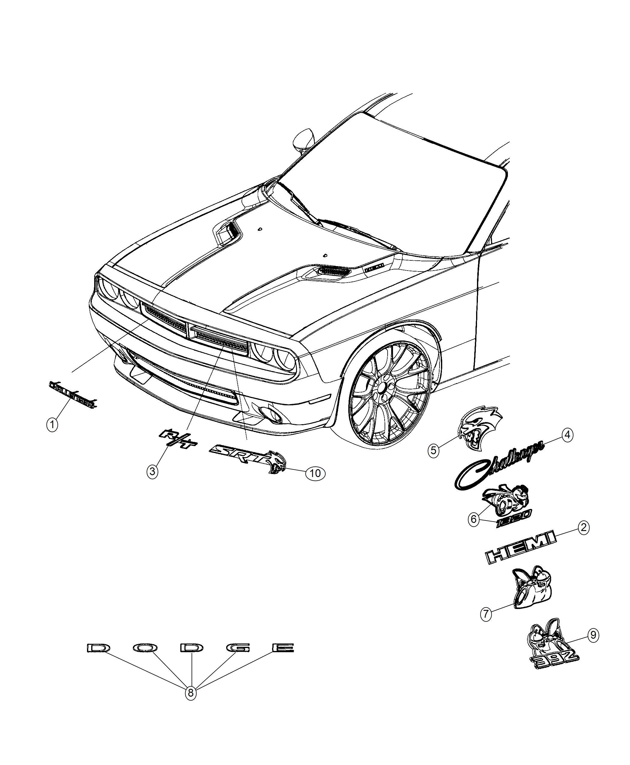 Dodge Challenger Nameplate Challenger Front