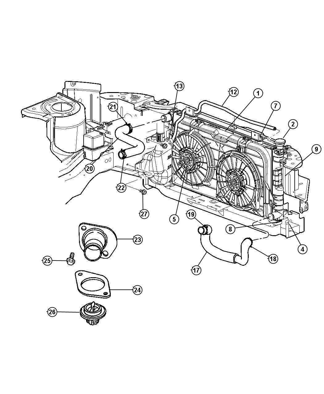 Chrysler Radiator Engine Cooling Front And Rear Air