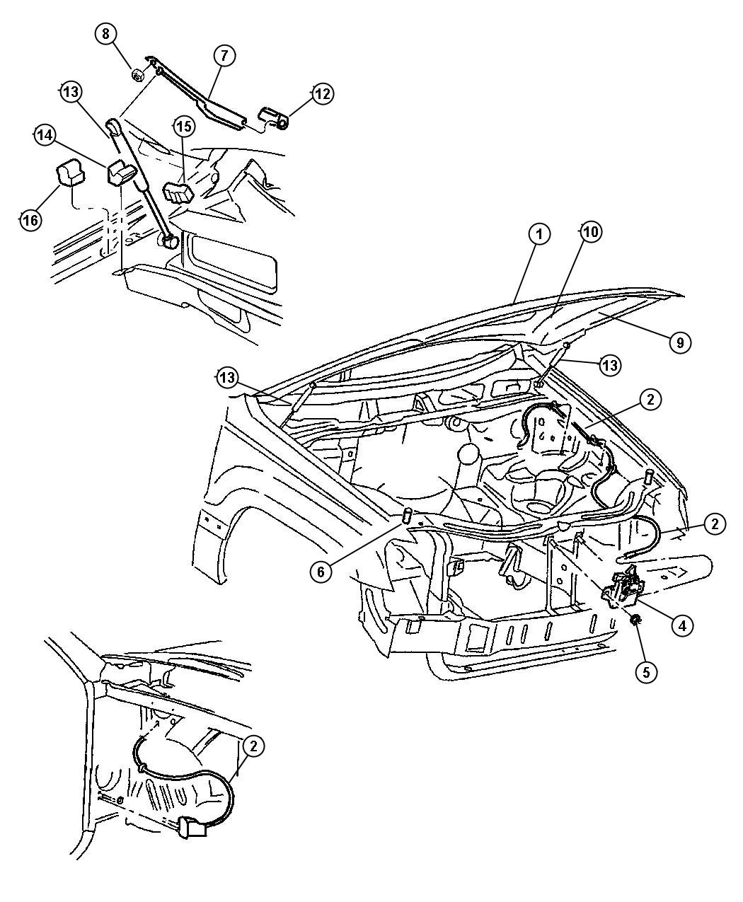 Jeep Grand Cherokee Latch Hood Suspension Front