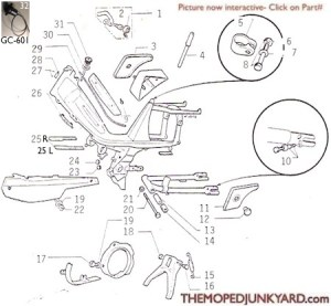 Motobecane frame parts Ref Diagram MB10d