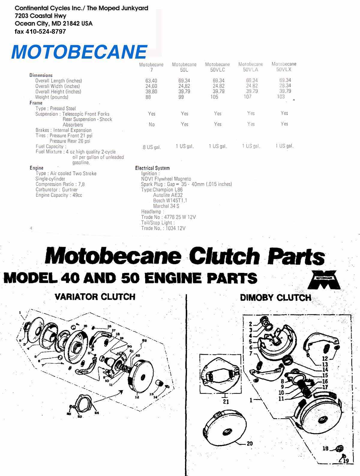 Motobecane Diagrams