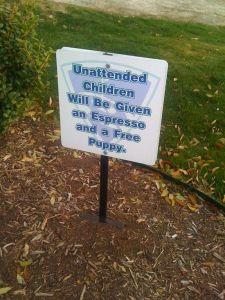 Funny sign Espresso free puppy