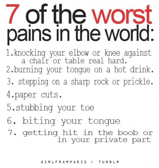 Seven of the most painful things in the world.