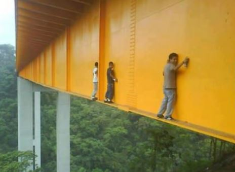 Have you ever wondered how the graffiti gets to those crazy places? This is how they do it.