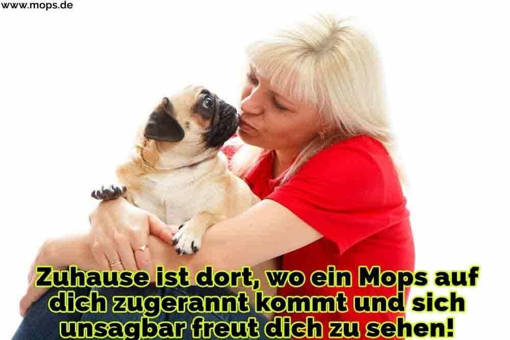 Eine Frau küsst ihr Mops