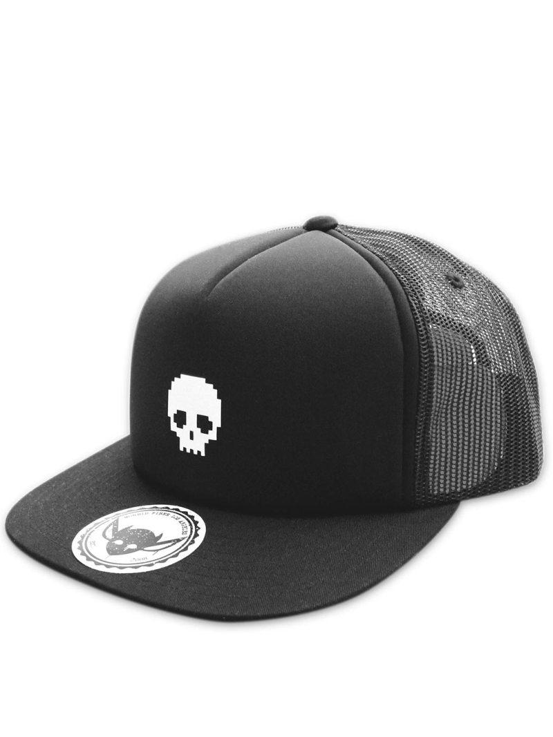 MORBID-FIBER-Los-Angeles-Streetwear-Black-Skull-Snapback-Trucker-Hat