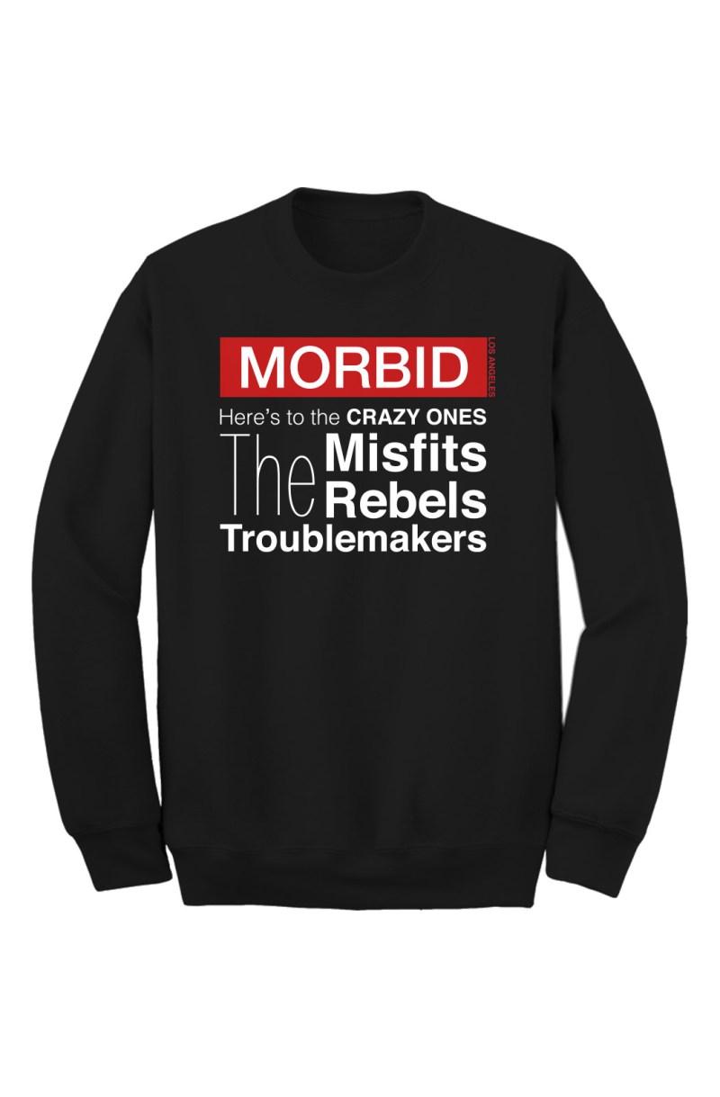 MORBID Los Angeles Clothing Black Crazy Ones Crew Sweater Streetwear
