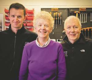 Maxton founder Ron Williams (right) is still closely involved in the design of new suspension systems.