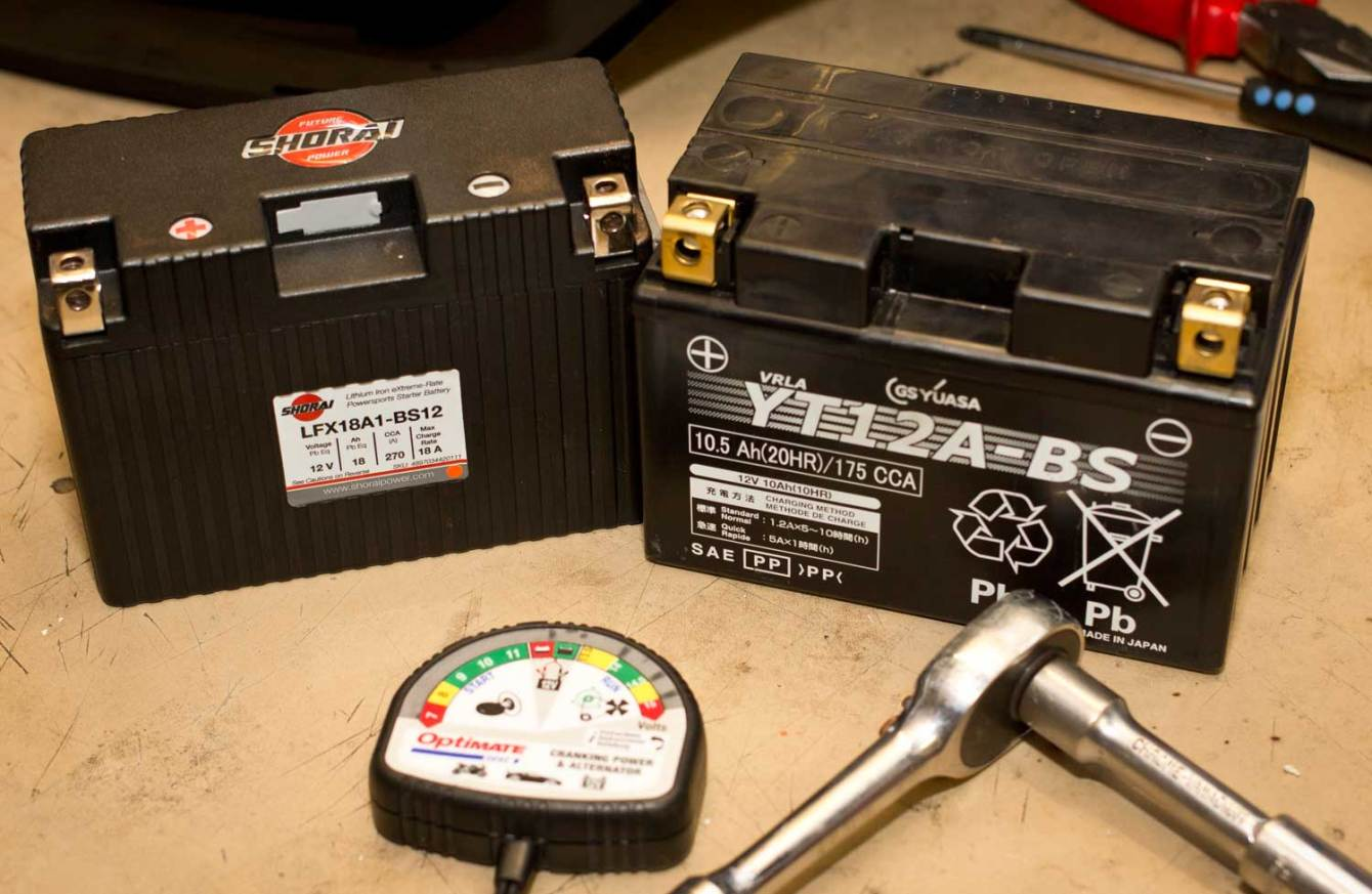 The Shorai is significantly smaller and lighter than a standard lead acid battery