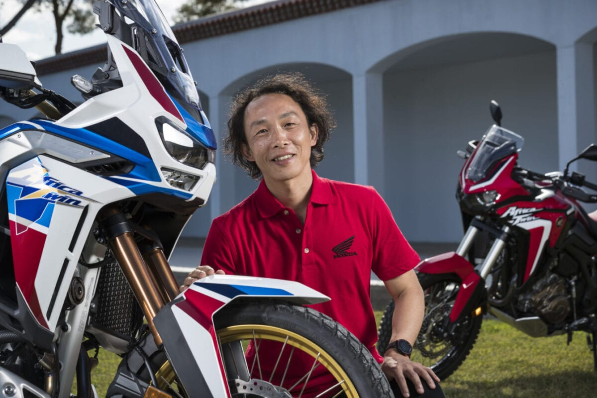 Here's Kenji Morita. He's Honda's Large Project Leader. He's the main man behind the Japanese factories new Africa Twin and Africa Twin Adventure Sports motorcycles. He loves riding bikes off-road.