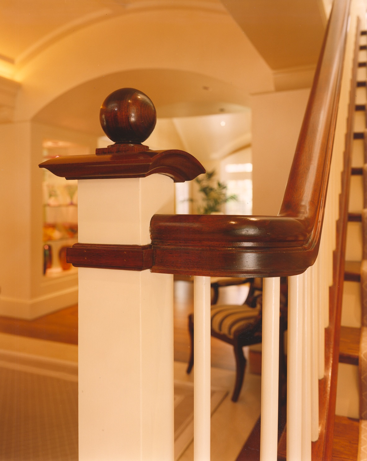 Close-up of railing in a transitional home.