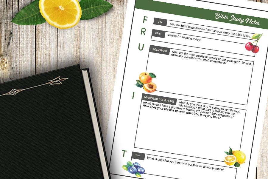"""FRUIT""  Bible Study Method – Free Printable"