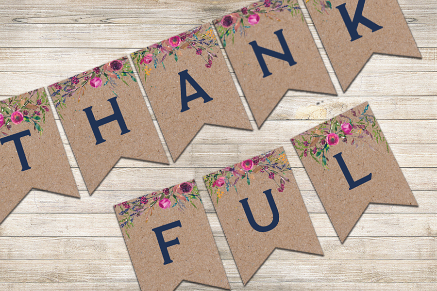 Thankful Banner – Brown Background