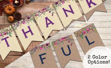 Thankful Banners – Free Printable