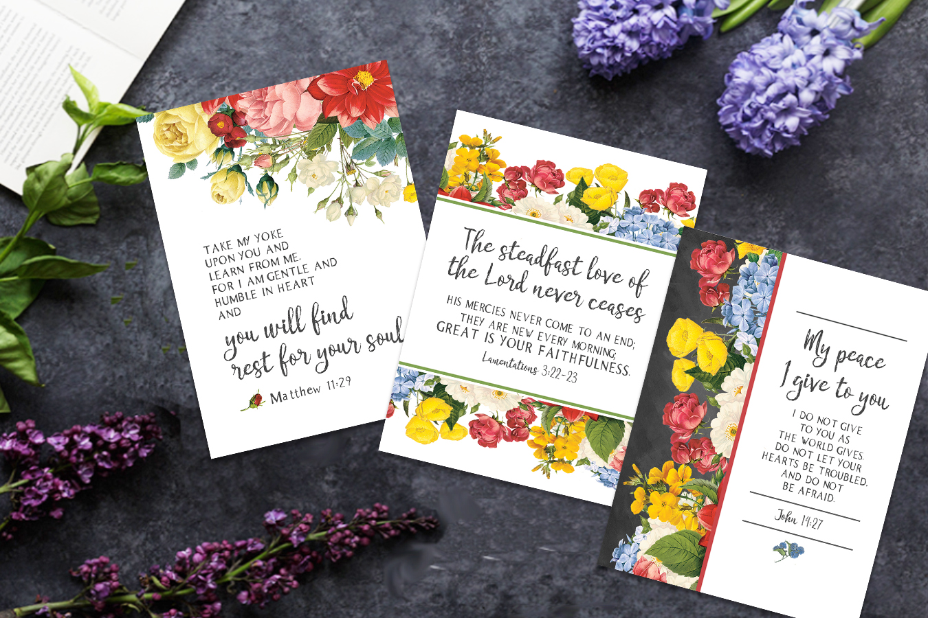 Pretty Floral Free Printable Scripture Cards
