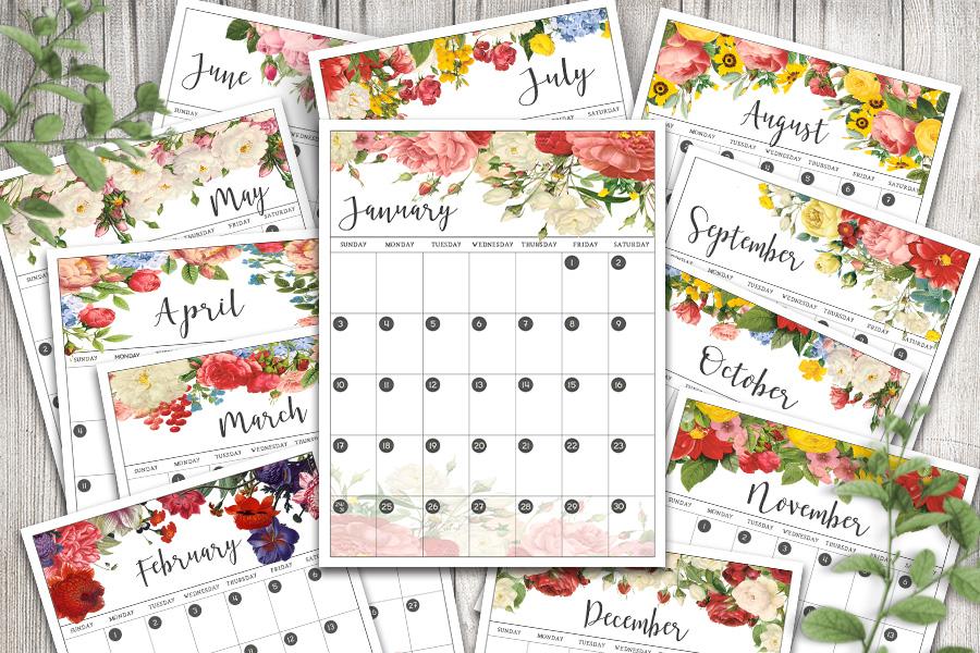 Free Printable 2021 Calendar: Vintage Floral