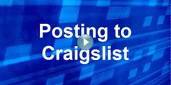 Blue background that says posting to craigslist and a play button over the text.