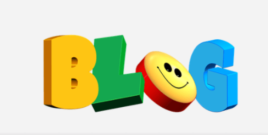 The words BLOG in different colors with the O with 2 eyes and a smiling mouth