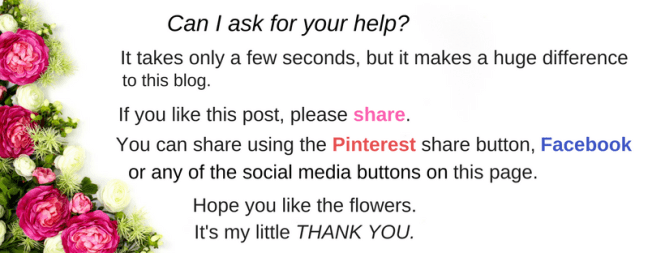 pretty flowers and asking readers to share this post