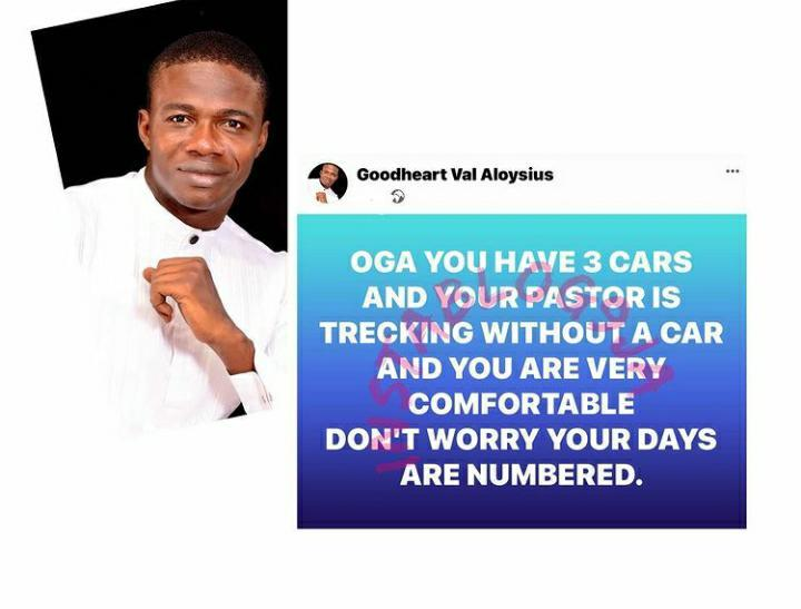 Your days are numbered, if you have 3 cars and your Pastor walks - Prophet Aloysius