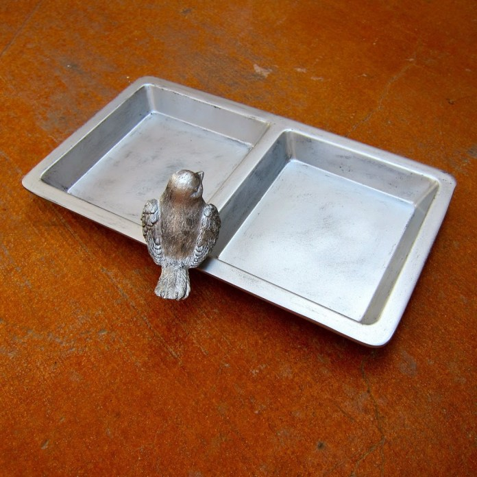 faux pewter jewelry tray