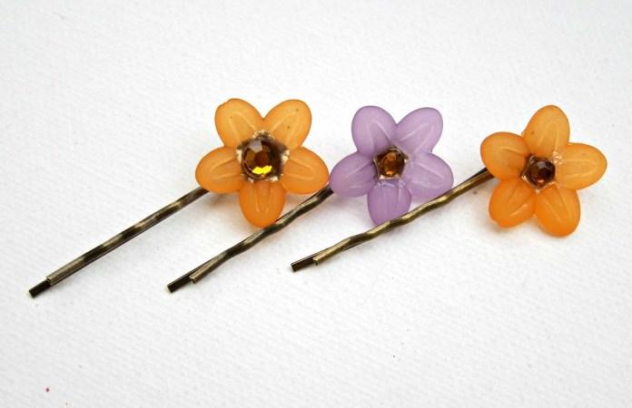 Cabochon-flower-hair-pins