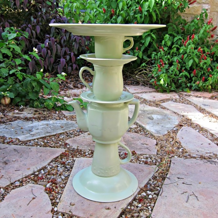 Make a tea pot bird bath by using thrifted items from Goodwill. This whimsical piece of garden art is surprisingly easy to make.