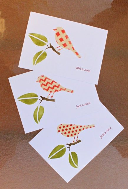 Stenciled note cards