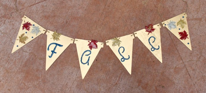 Quickly make a no-mess sparkling banner when you use glitter hot glue.