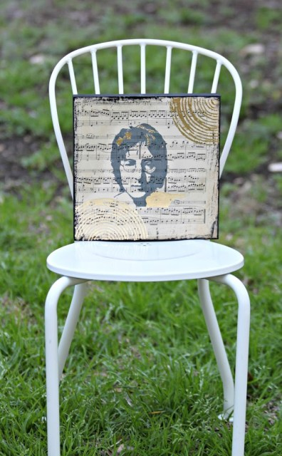 Make music wall art using sheet music and your favorite artist.